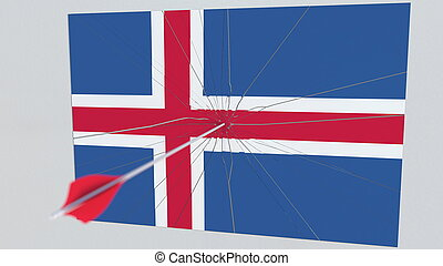 Archery arrow hits flag of ICELAND plate. National security breach related 3D rendering