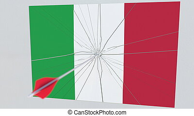 Archery arrow hits flag of ITALY plate. National security breach related 3D rendering