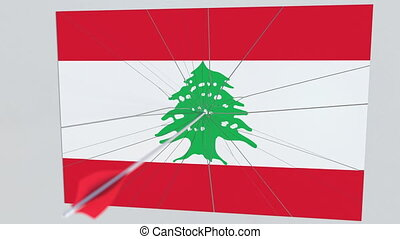 Archery arrow hits flag of LEBANON plate. National security breach related 3D animation