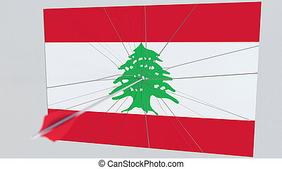 Archery arrow hits flag of LEBANON plate. National security breach related 3D rendering