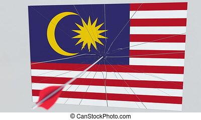 Archery arrow hits flag of MALAYSIA plate. Conceptual 3D...