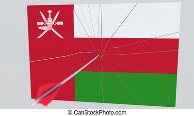Archery arrow hits flag of OMAN plate. National security...