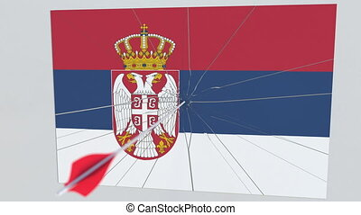 Archery arrow hits flag of SERBIA plate. National security breach related 3D animation
