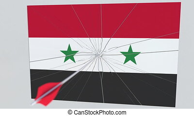 Archery arrow hits flag of SYRIA plate. National security breach related 3D animation