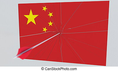 Archery arrow hits target featuring flag of CHINA. State security breach related 3D rendering