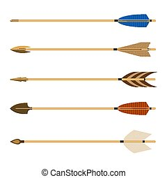 Archery arrows set vector illustration isolated on white