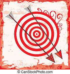 Archery background with two arrows and target