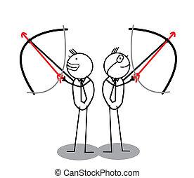 archery, forretningsmand, gruppe