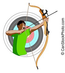 archery male archer with bow and arrow with target in...