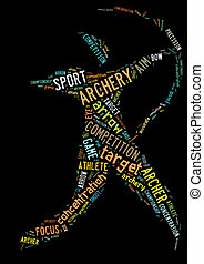 Archery pictogram with colorful words on black background