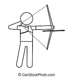 archery player aiming bow game outline