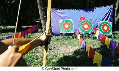 Archery shooting. Target in which they shoot with a bow