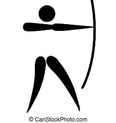 Archery sign - Black silhouetted archery sign or symbol;...