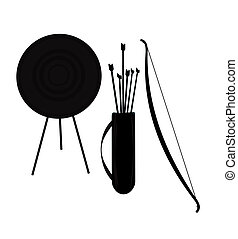 archery silhouette  - bow and arrow silhouette complete