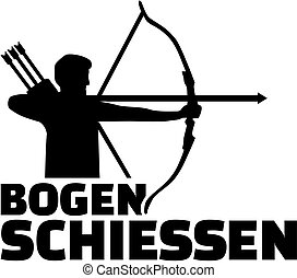 Archery Silhouette with german name of sport