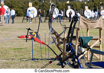 Archery gear, archers and targets