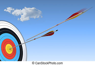 archery, target and arrow over blue sky background with one ...