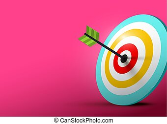 Archery Target Vector Illustration with Empty Space on Left Side.