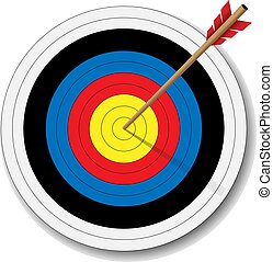 archery target with arrow in bulls eye vector illustration