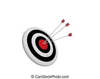 Archery target with arrows in the center bullseye. 3d rendering.