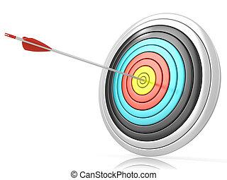 Archery target with one arrow