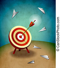 Illustration of archery target with one arrow in the center surrounded by paper airplanes missing the mark entirely. Original illustration by myself. Competition and aiming for success concept.