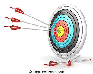 Archery target with red arrows