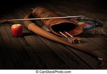 Archery - Vintage archery paraphernalia symbolizing...