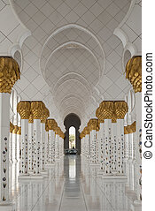 Arches at a mosque - A one point perspective of a series of...