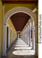 Arches on a colonial building in Campeche, Mexico