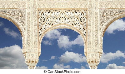 Arches in Islamic (Moorish) style in Alhambra, Granada,...