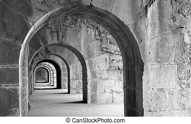 Arches in the bastille above grenoble, France