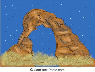 arches national park. abstract illustration of Strange rock...