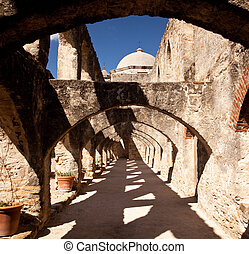 Arches of San Jan Mission near San Antonio