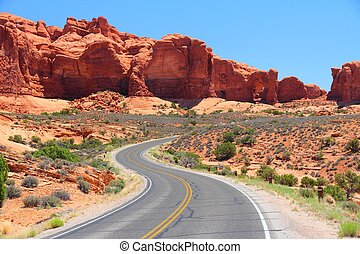 Arches Scenic Drive - Arches National Park in Utah, USA....