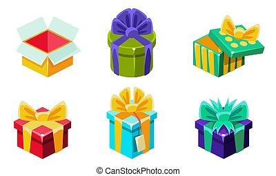 archi, presente, illustrazione, vettore, scatole, colorito, regalo, vario, set