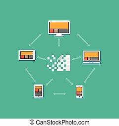 archief, distribution., concept, illustration., andere., overbrengen, of, delen, documenten, bestand, elke, document, tussen