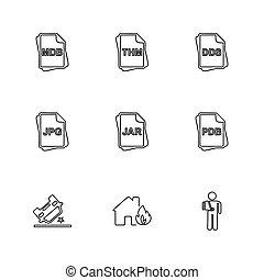 archief, documenten, set, iconen, eps, vector, bestand, type