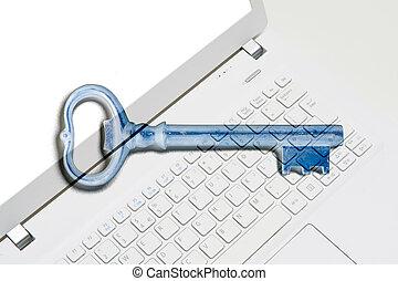 archief, het behouden, bevestigen, persoonlijk, brandkast, computer, online, beschermd, data