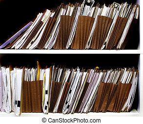 archief, op, plank