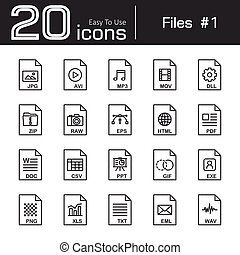 archief, pictogram, set, 1, (, jpg, avi, mp3, mov, dll, ritssluiting, rauwe, eps, html, pdf, doc, csv, ppt, gif, exe, png, xls, txt, eml, wav, )