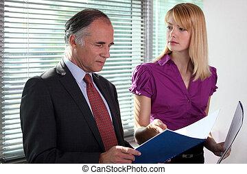 archief, raadgevend, kantoor, zakelijk, duo