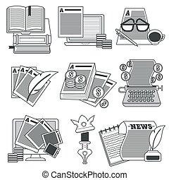 archief, schrijvende , iconen, aanpassen, veranderen,...