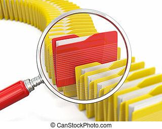 archief, search., folders, en, loupe, op wit, achtergrond.