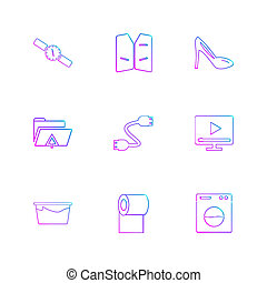 archief, set, iconen, vensters, os, eps, hardware, vector, bestand, documenten, type