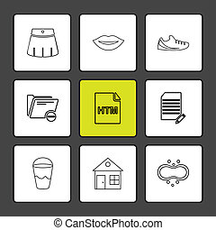 archief, set, iconen, vensters, type, eps, hardware, glas, lippen, vector, bestand, documenten, os, html, map