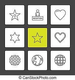 archief, set, klembord, iconen, eps, vector, document