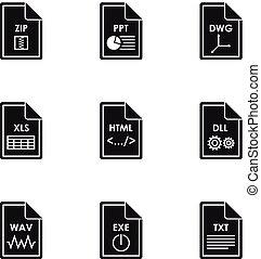 archief, stijl, iconen,  Set, eenvoudig,  types