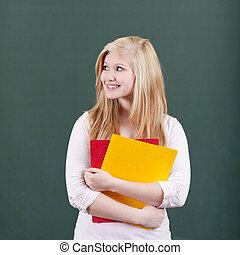 archief, tiener, tegen, nadenkend, chalkboard, vasthouden, meisje