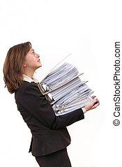 archief, vrouw, overbelaste, zakelijk